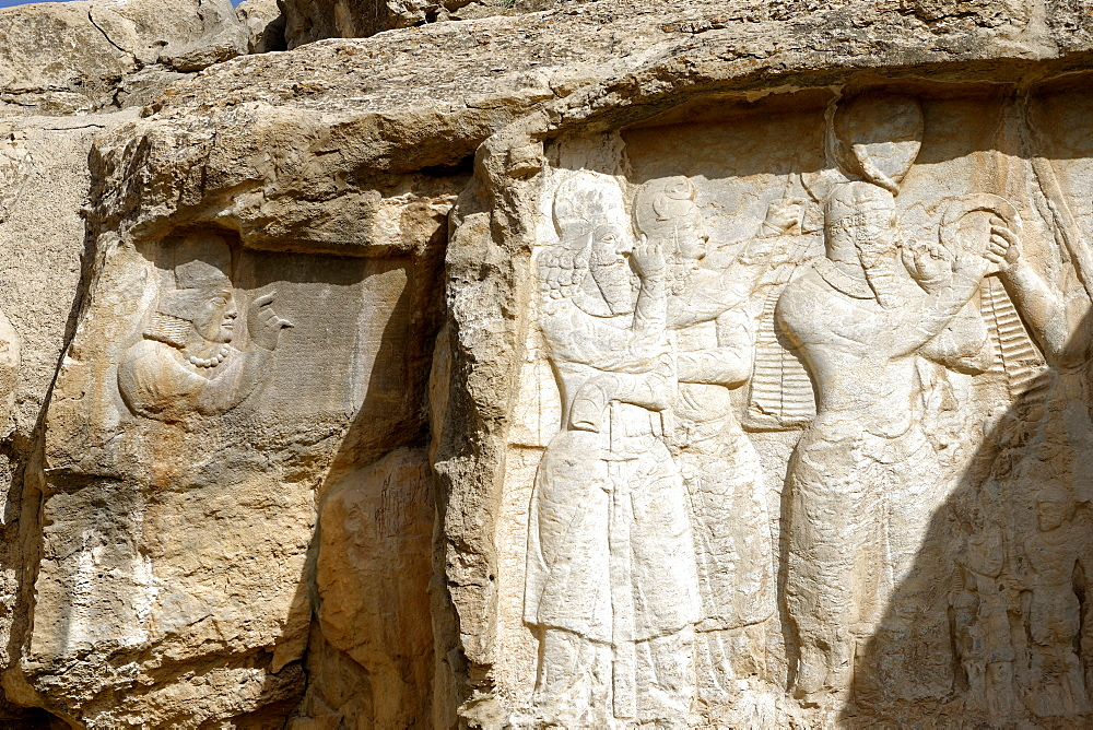 Parade of Shapur I, Naqsh-e Rajab, four Sassanid bas-reliefs of the third century, Region of Persepolis, Iran, Middle East - 724-2559