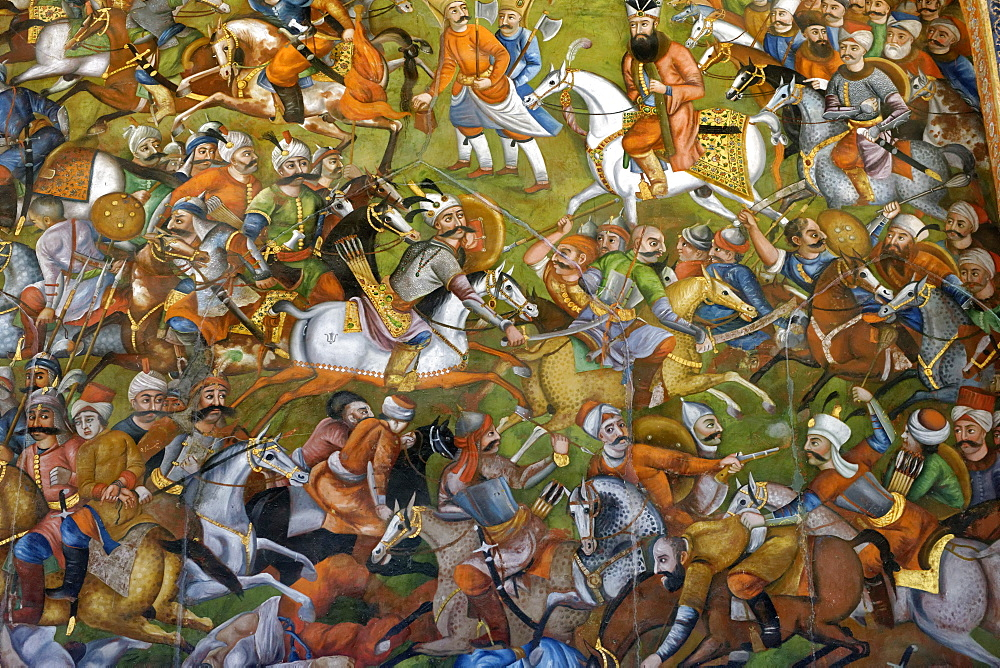 Shah Ismail I defeats Ottoman troops at the Battle of Chaldiran, Chehel Sotoun Palace (Forty Columns), Isfahan, Iran, Middle East