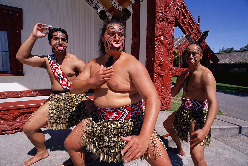 Portrait of three Maori men performing traditional dance, New Zealand, Pacific - 728-1328