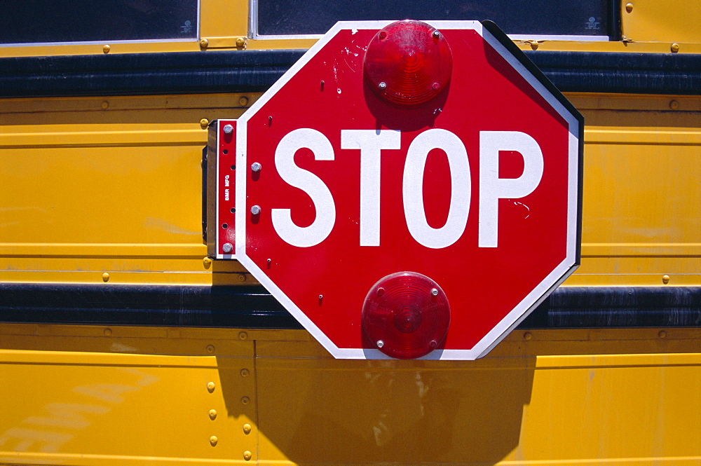 Stop sign, school bus, USA