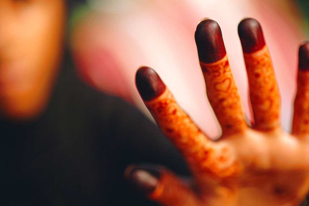 Woman's hands decorated with henna, Dubai, United Arab Emirates, Middle East