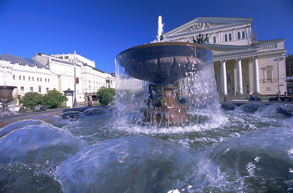 Fountain in front of the Bolshoi Theatre, Moscow, Russia, Europe