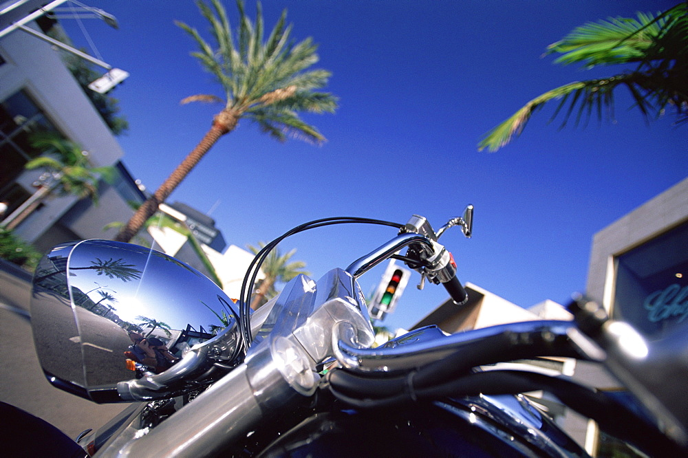 Motor bike on Rodeo Drive, Beverly Hills, Los Angeles, California, USA, North America