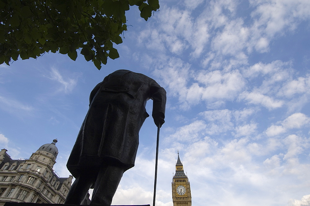 Statue of Winston Churchill and Big Ben, Westminster, London, England, United Kingdom, Europe