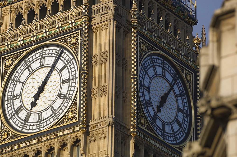 Close-up of the clock face of Big Ben, Westminster, London, England, United Kingdom, Europe