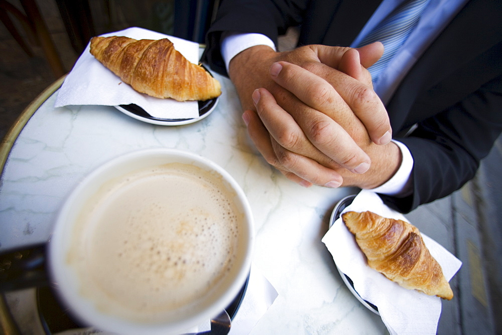 French breakfast of coffee and croissants, Paris, France, Europe - 728-3889