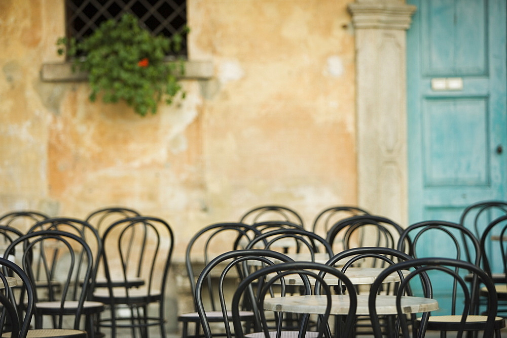 Empty tables at cafe, Lake Maggiore, Italy, Europe