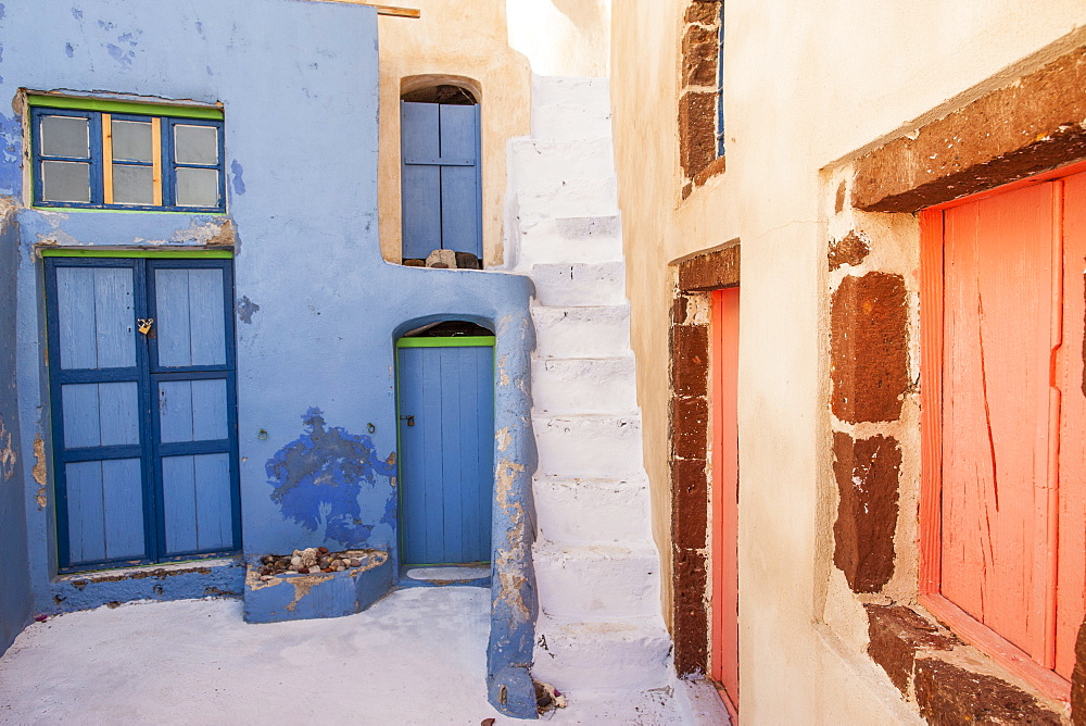 Painted buildings, Oia, Santorini, Cyclades, Greek Islands, Greece, Europe
