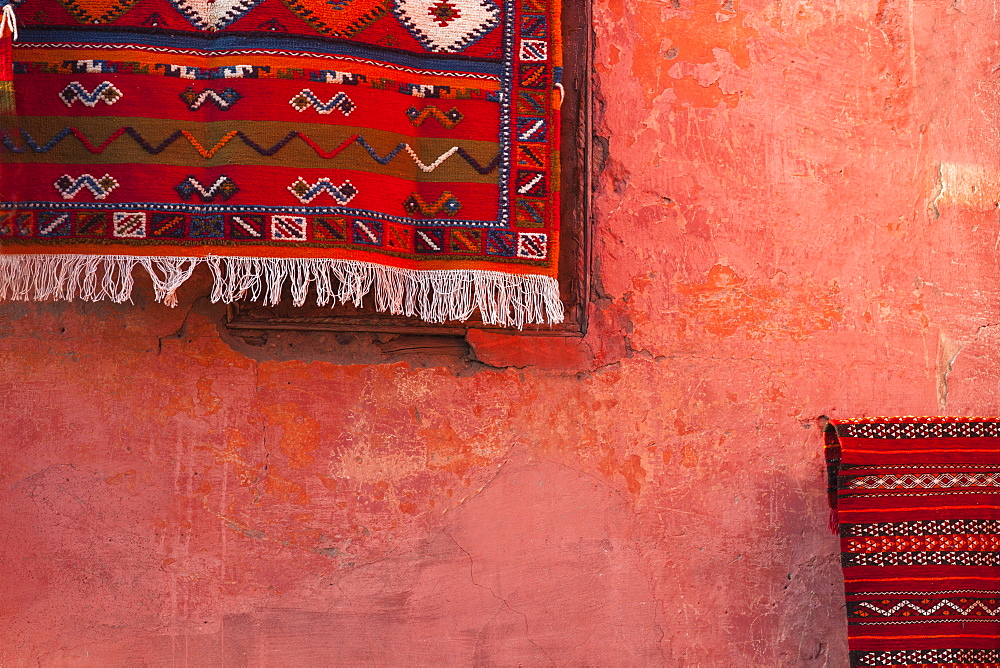 Carpet hanging on wall, Marrakech, Morocco, North Africa, Africa