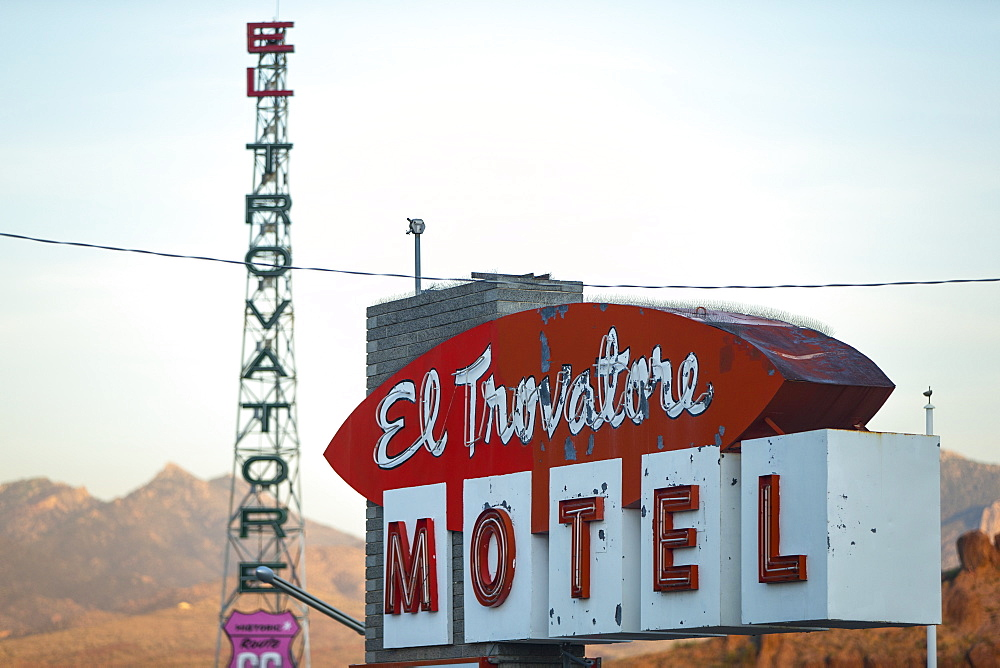 Motel Sign on Route 66, Kingman, Arizona, United States of America, North America