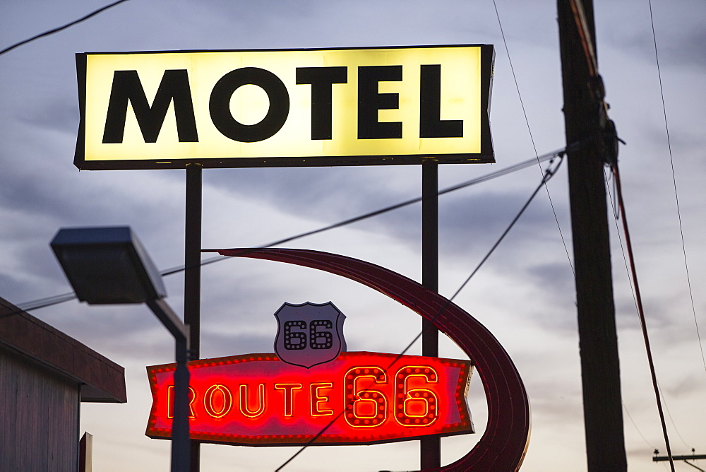 Motel sign on Route 66, Kingman, Arizona, United States of America, North America