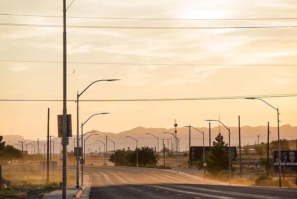 Dusty morning on Route 66, Arizona, United States of America, North America - 728-5609