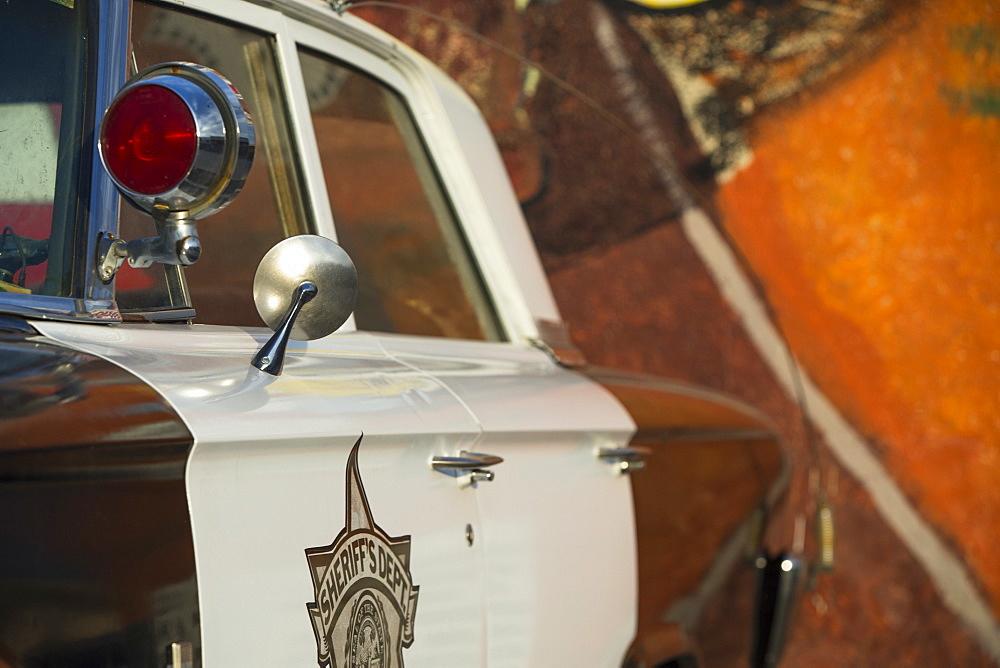 Old Police car on Route 66, Kingman, Arizona, United States of America, North America
