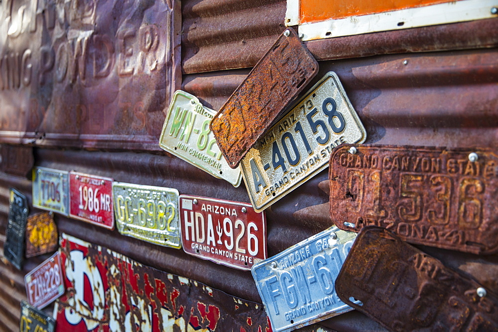 Old number plates on Route 66, Kingman, Arizona, United States of America, North America