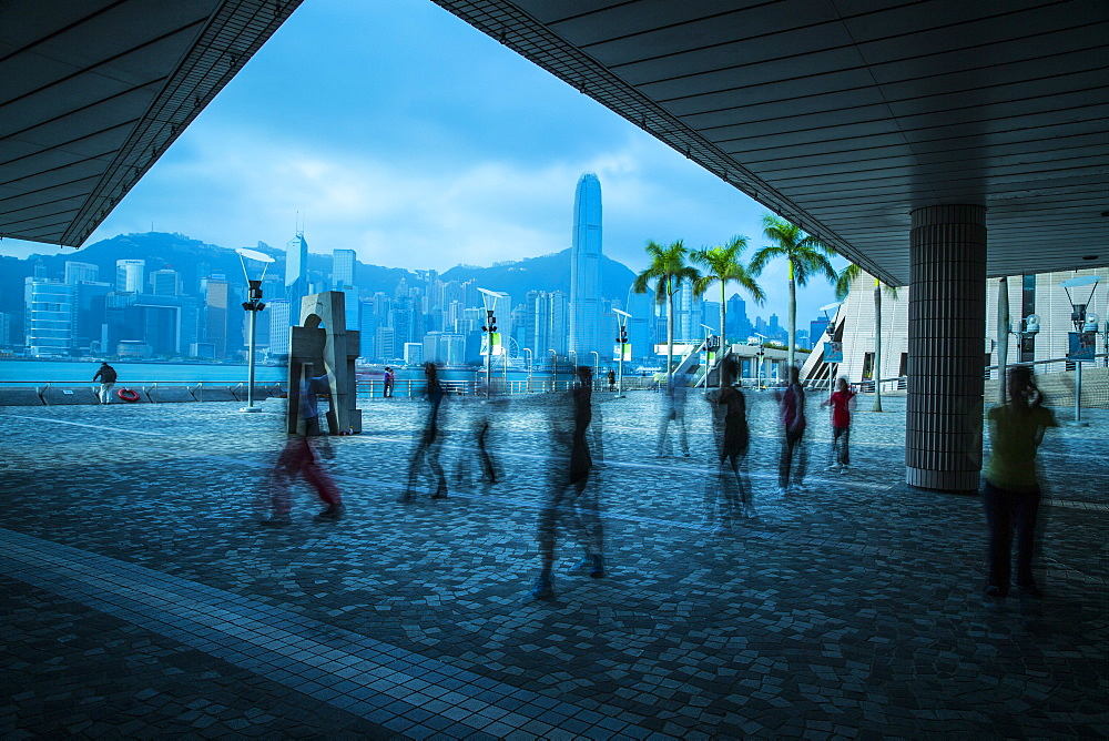 Ghost figures on waterfront, Kowloon, Hong Kong, China, Asia - 728-5644