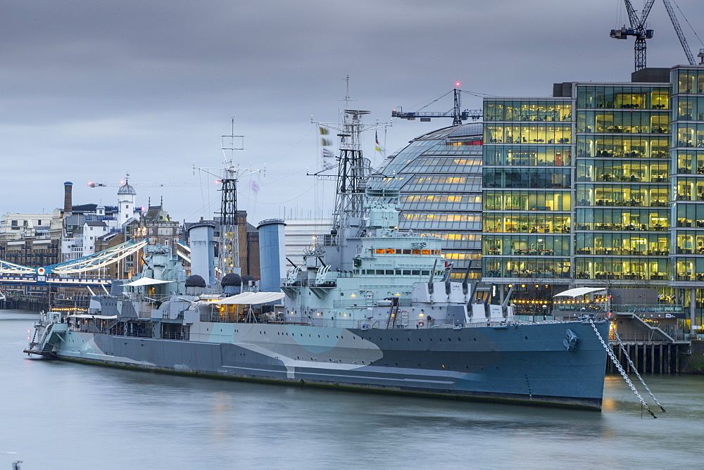 HMS Belfast and City Hall, London, England, United Kingdom, Europe
