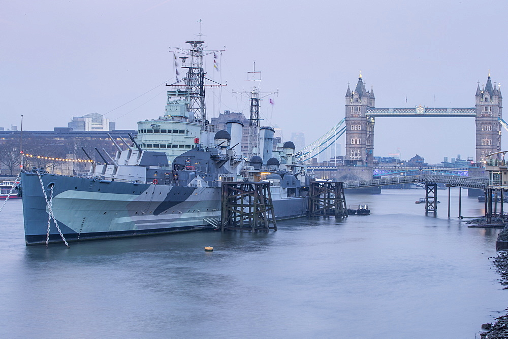 HMS Belfast on the River Thames, London, England, United Kingdom, Europe