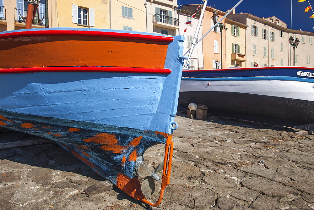 Fishing boat in Harbour, St. Tropez, Var, Provence, Cote d'Azur, French Riviera, France, Mediterranean, Europe