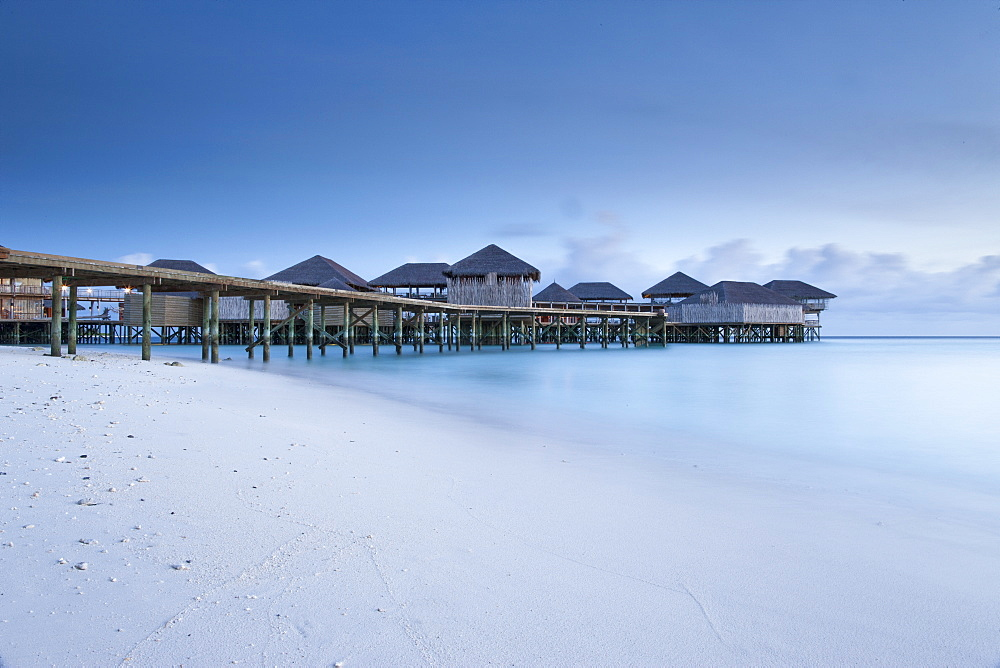 Wooden buildings over water, The Maldives, Indian Ocean, Asia