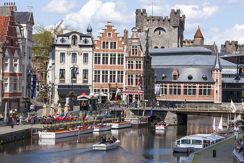 City Centre buildings and Canal, Ghent, Belgium, Europe