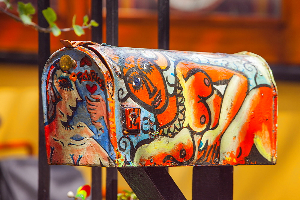 Painted post box, Amsterdam, The Netherlands, Europe