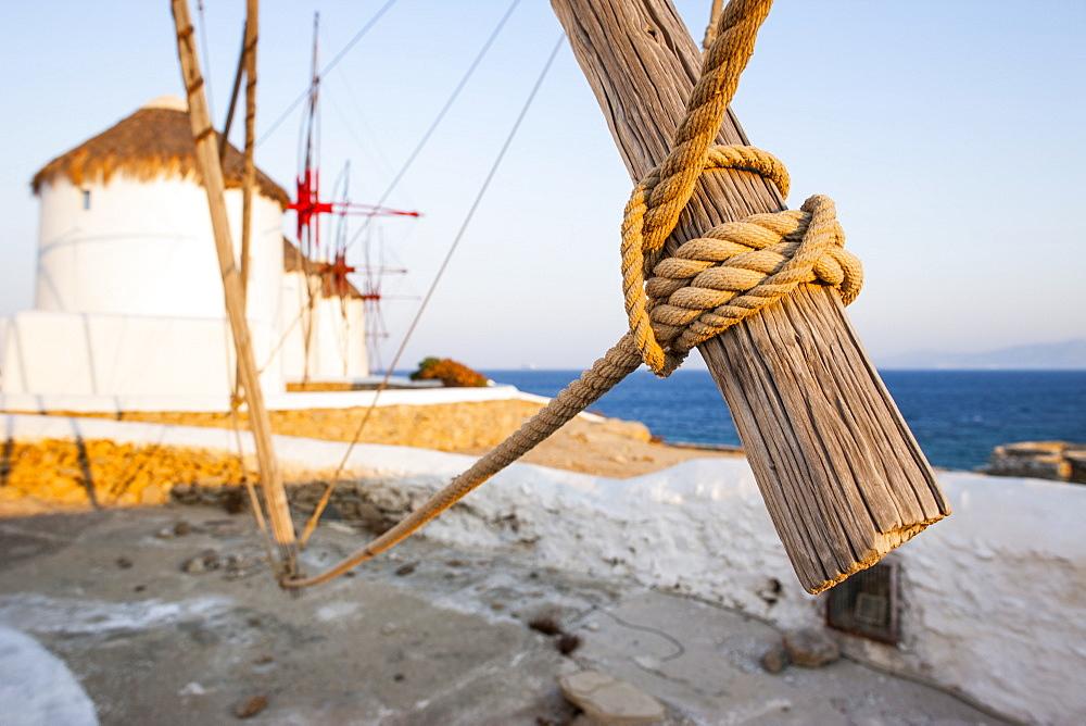 Windmills in Mykonos Town, Mykonos, Cyclades, Greek Islands, Greece, Europe