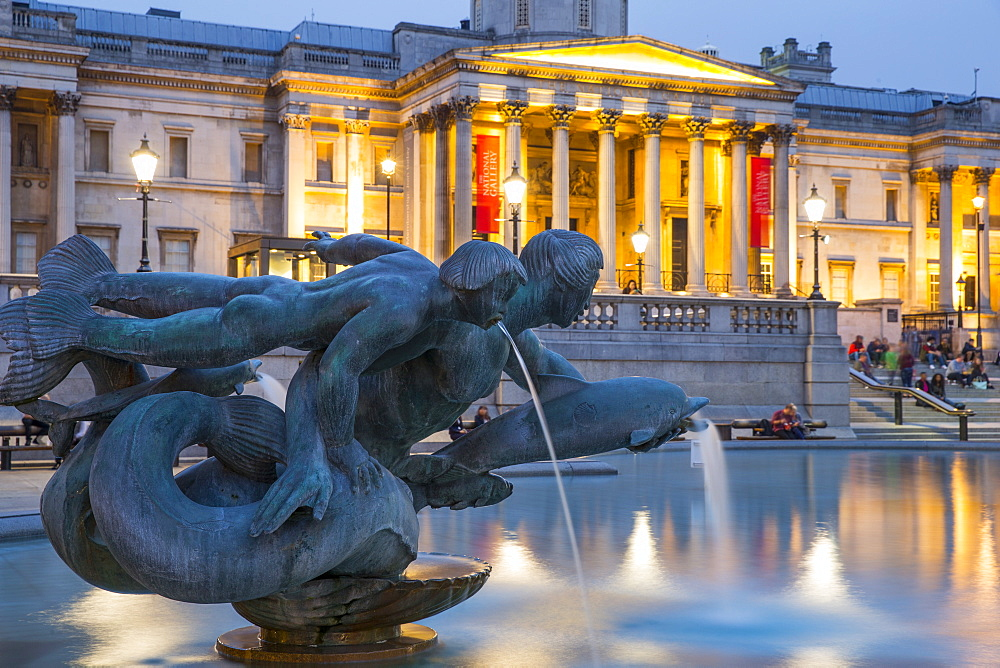 National Gallery and fountain on Trafalgar Square, London, England, United Kingdom, Europe - 728-6148