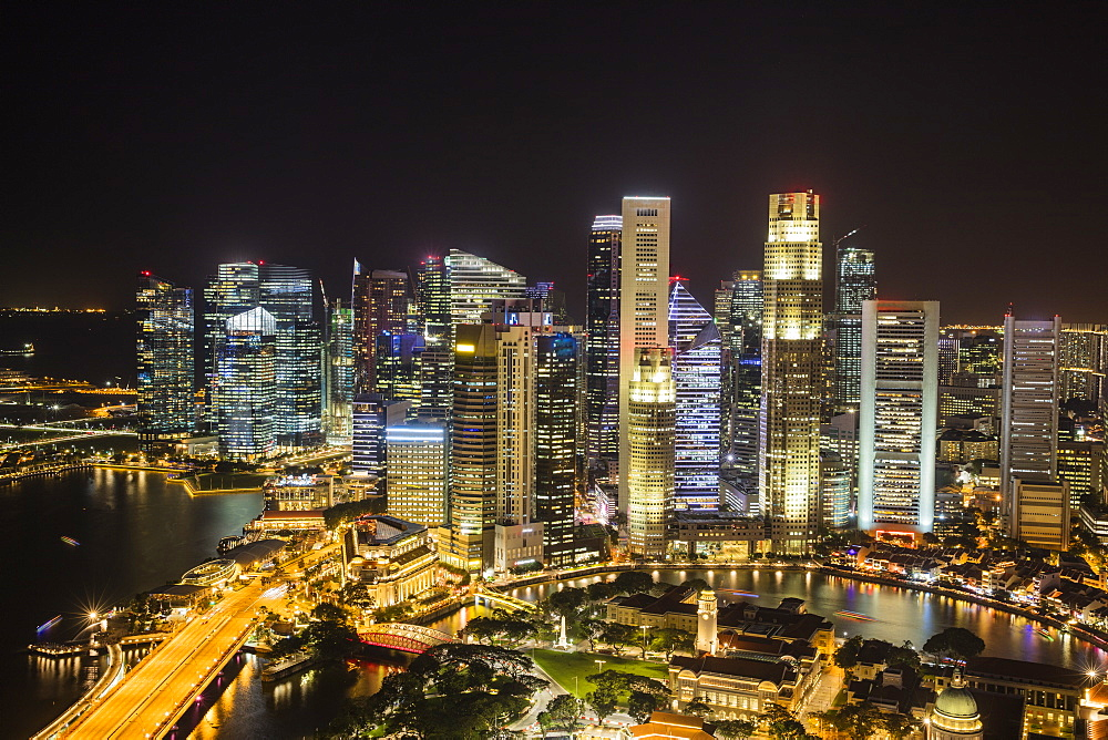 Financial District at night, Singapore, Southeast Asia, Asia - 728-6368
