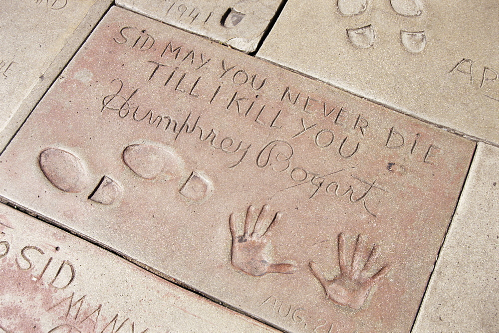 Hand and footprints of Humphrey Bogart, Mann's Chinese Theater, Los Angeles, California, United States of America (U.S.A.), North America