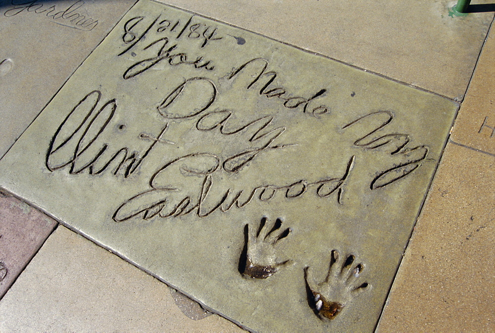 Hand prints of Clint Eastwood, Mann's Chinese Theater, Los Angeles, California, United States of America (U.S.A.), North America