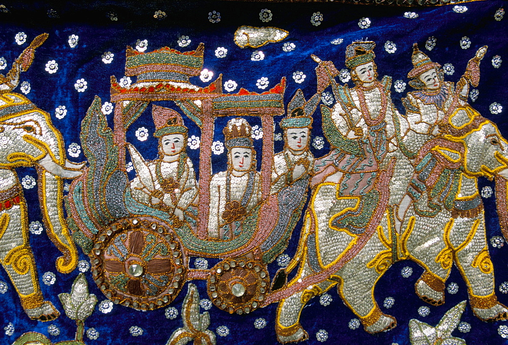Close-up of embroidered tapestry, Thailand, Southeast Asia, Asia