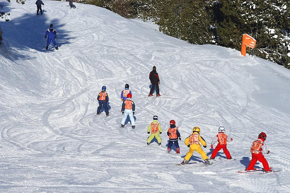 Children's ski school on the piste, Soldeu ski resort, Andorra, Europe