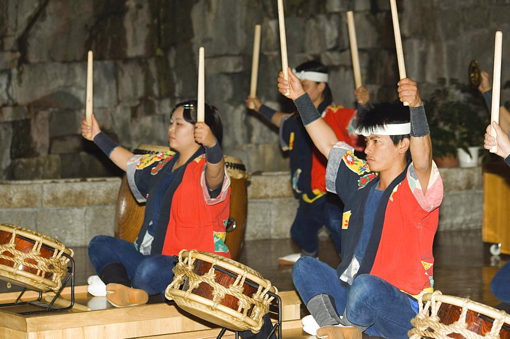 Traditional Japanese taiko drumming performance, Matsuyama, Ehime prefecture, Shikoku island, Japan, Asia