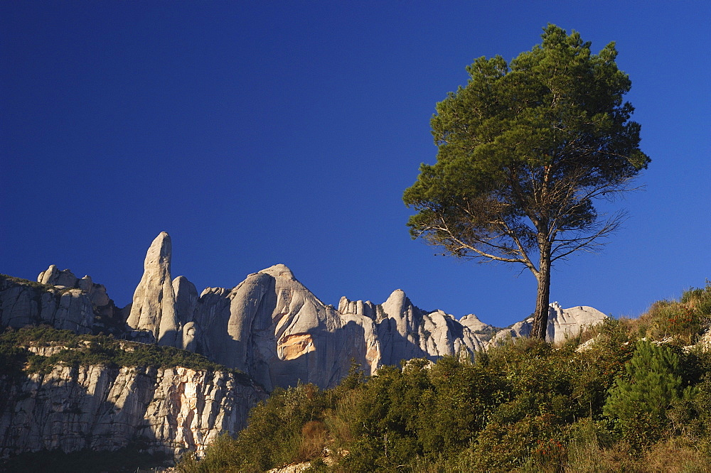 Escarpment at Montserrat, Montserrat, Catalonia, Spain, Europe