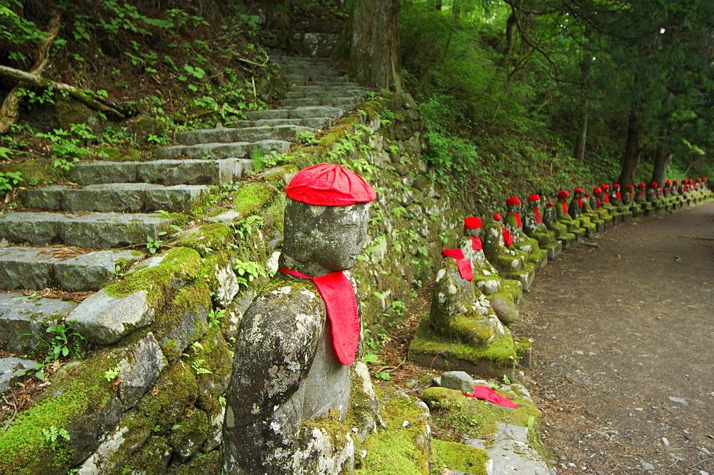 Narabijizo Bakejizo, jizo stone statues, Kanmangafuchi, Nikko, Tochigi prefecture, Japan, Asia