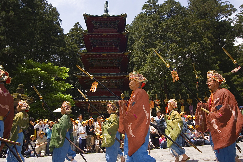 Parade of Nikko Spring Festival, five storey pagoda at Toshogu Shrine, Nikko, Tochigi prefecture, Japan, Asia