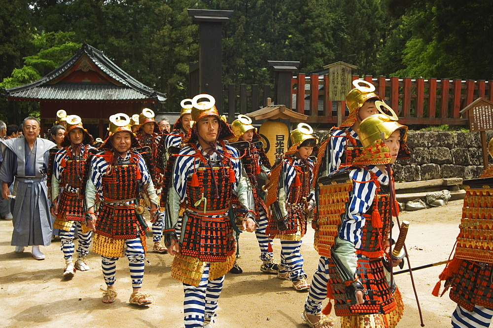 Men in traditional samurai costume, parade of Nikko Spring Festival, Toshogu Shrine, Nikko, Tochigi prefecture, Japan, Asia