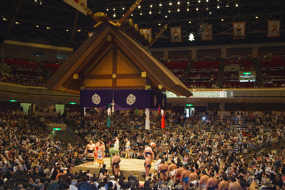Sumo wrestlers, Grand Taikai Sumo Wrestling Tournament, Kokugikan Hall Stadium, Ryogoku district, Tokyo, Japan, Asia