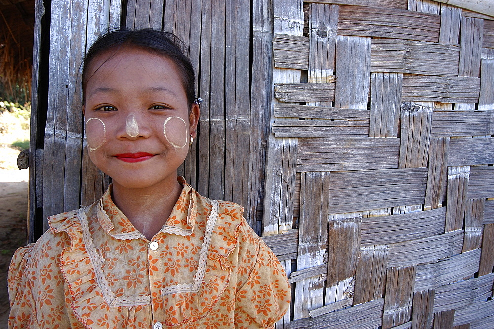 Child at a village, trekking route from Inle Lake, Inle Lake, Shan State, Myanmar (Burma), Asia