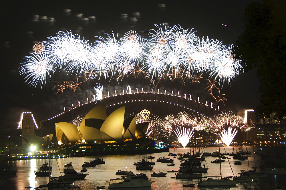 New Years Eve 2006, 75th Diamond Anniversary Firework Celebrations, Opera House, Sydney Harbour Bridge and boats in Sydney Harbour, Sydney, New South Wales, Australia, Pacific