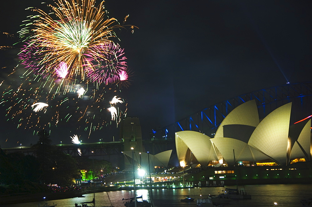 New Years Eve 2006, 75th Diamond Anniversary Firework Celebrations, Opera House and boats in Sydney Harbour, Sydney, New South Wales, Australia, Pacific
