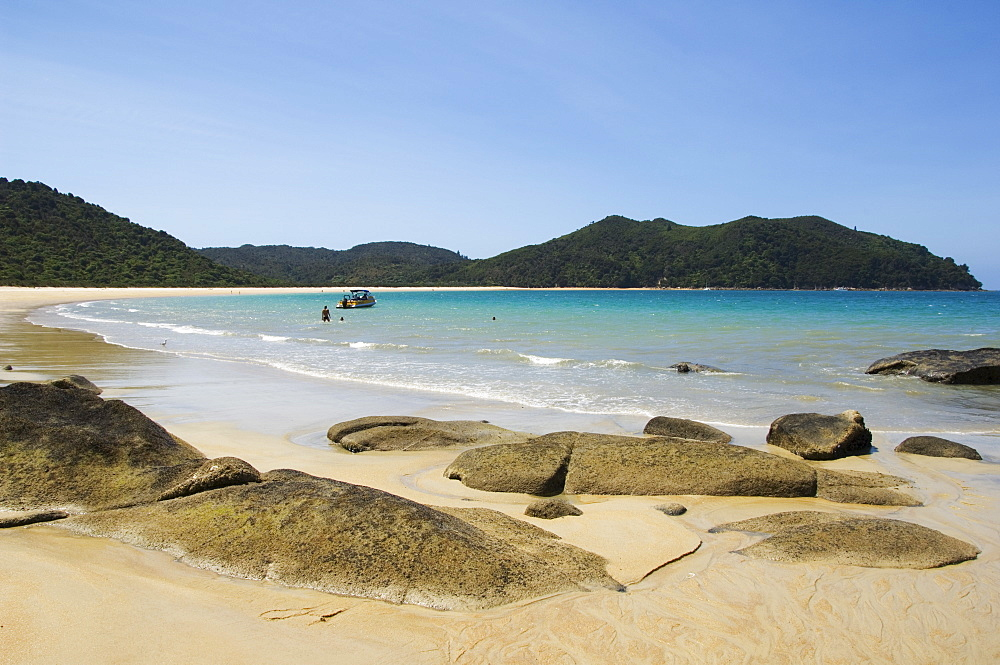 Onetahuti Beach in Abel Tasman National Park, the smallest national park in the country, named after the Dutch explorer the first European to discover New Zealand in 1642, Nelson, South Island, New Zealand, Pacific