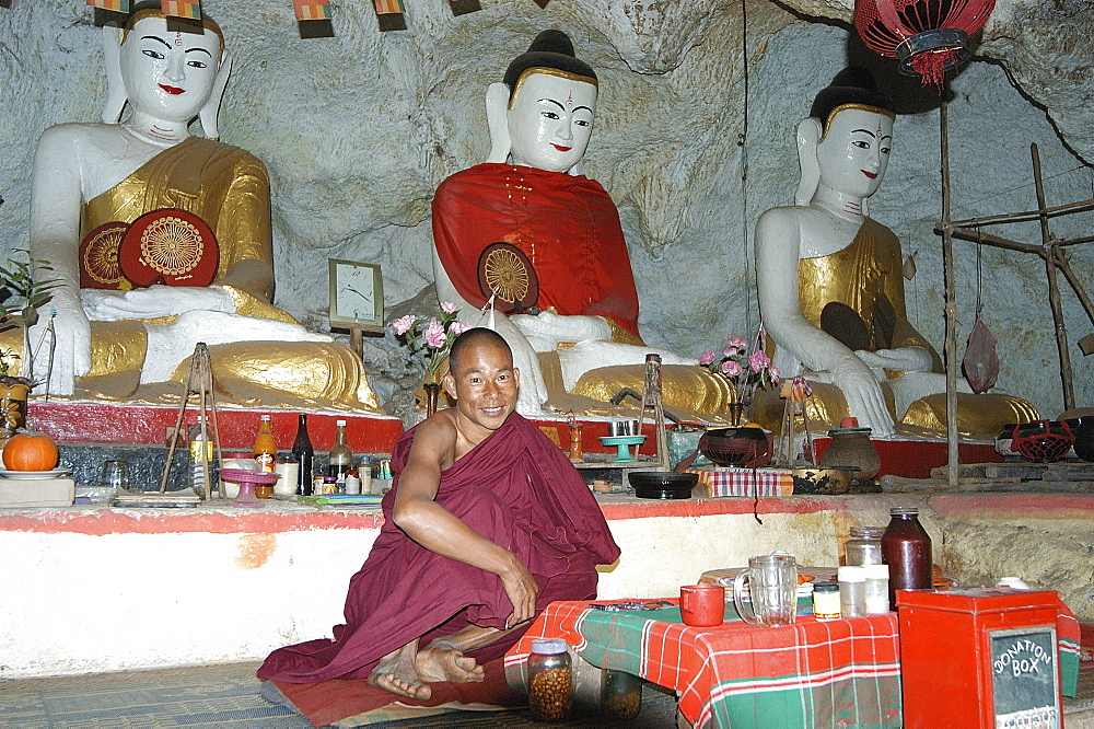 Cave monastery and monk, on trekking/hiking route, Inle Lake, Shan State, Myanmar (Burma), Asia