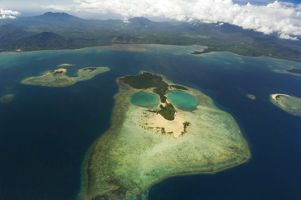 Coral island in shape of a face near Puerto Princesa, Palawan Province, Philippines, Southeast Asia, Asia