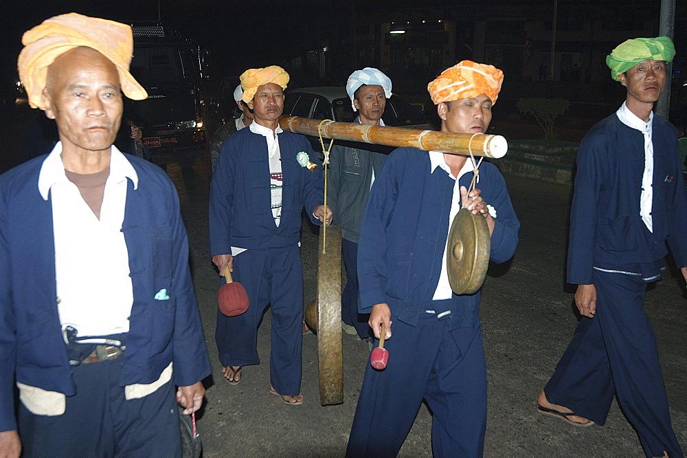 Night time parade at Taunggi hot air balloon festival, Taunggi, Myanmar (Burma), Asia