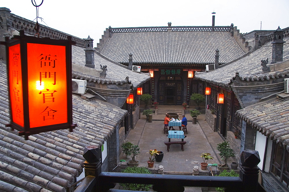 Historic Yamen Youth Hostel courtyard built in 1591 for the Emperor's city visit, UNESCO World Heritage Site, Pingyao City, Shanxi Province, China, Asia