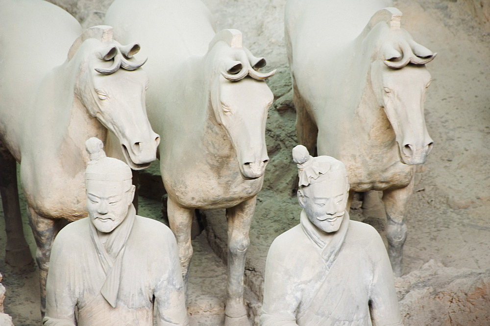 Pit 1 Mausoleum of the first Qin Emperor housed in The Museum of the Terracotta Warriors opened in 1979 near Xian City, Shaanxi Province, China, Asia