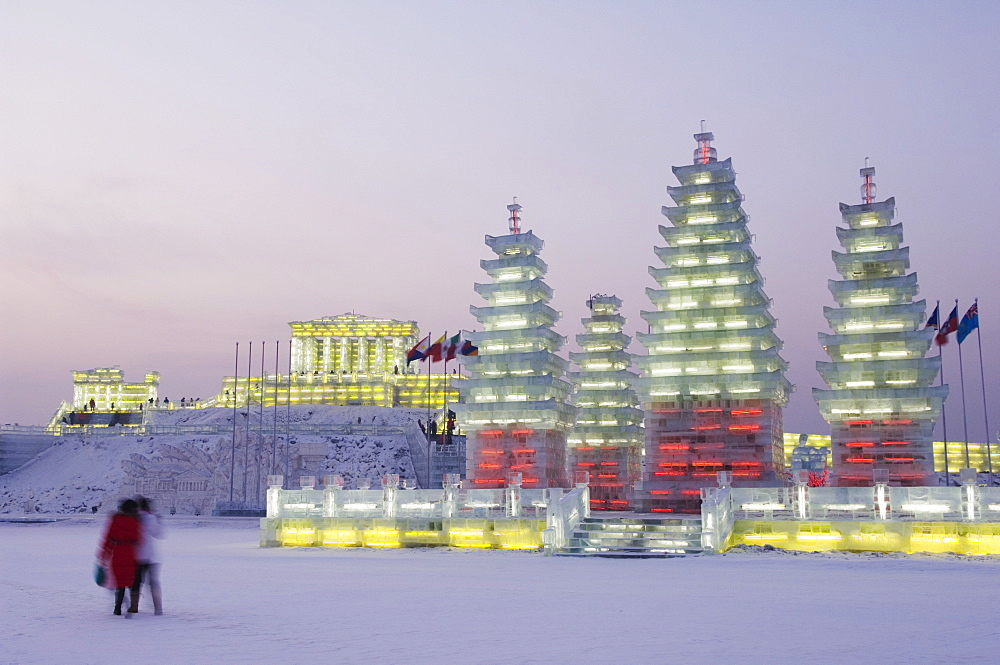 Snow and ice sculptures illuminated at the Ice Lantern Festival, Harbin, Heilongjiang Province, Northeast China, China, Asia - 733-2900