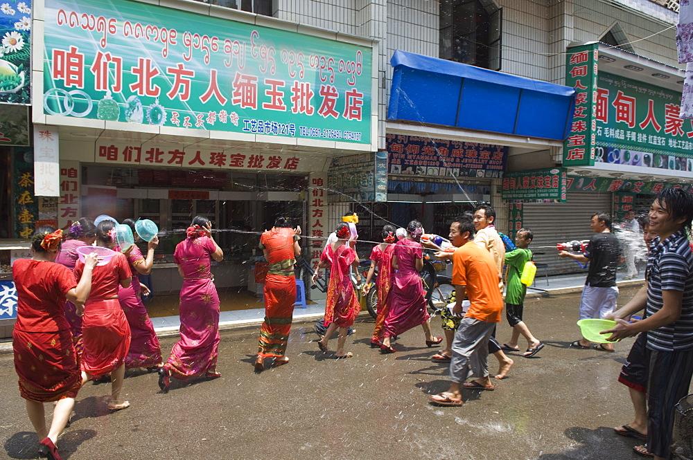 Water Splashing Festival in Jinghong town Xishuangbanna, Yunnan province, China, Asia