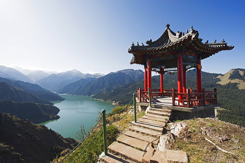 Pavilion overlooking Tian Chi (Heaven Lake), Xinjiang Province, China, Asia